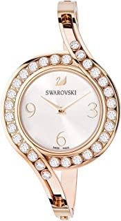SWAROVSKI Crystal Authentic Lovely Crystals Bangle Watch, Metal Strap, Rose Gold Tone - High Class Stone Studded Swiss Made Timepiece Jewelry and Everyday Accessory for Women