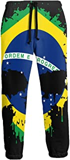Men's Sweatpants Brazil Flag Splatter Skull Joggers Pants with Pockets Slim Fit Sport Trousers with Drawstring
