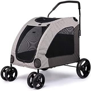 Zzyff Pet Trolley Car, Foldable for Dog Four-Wheel Four-Wheel Shockproof Front Wheel 360-degree Rotating Pet Travel, Baby Stroller One-Touch Assembly, Bearing 55kg Durable
