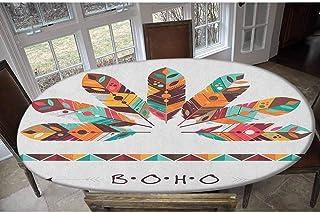 LCGGDB Housse de table élastique en polyester - Plumes artistiques de couleur pastel - Décoration abstraite - Oblong/ovale...