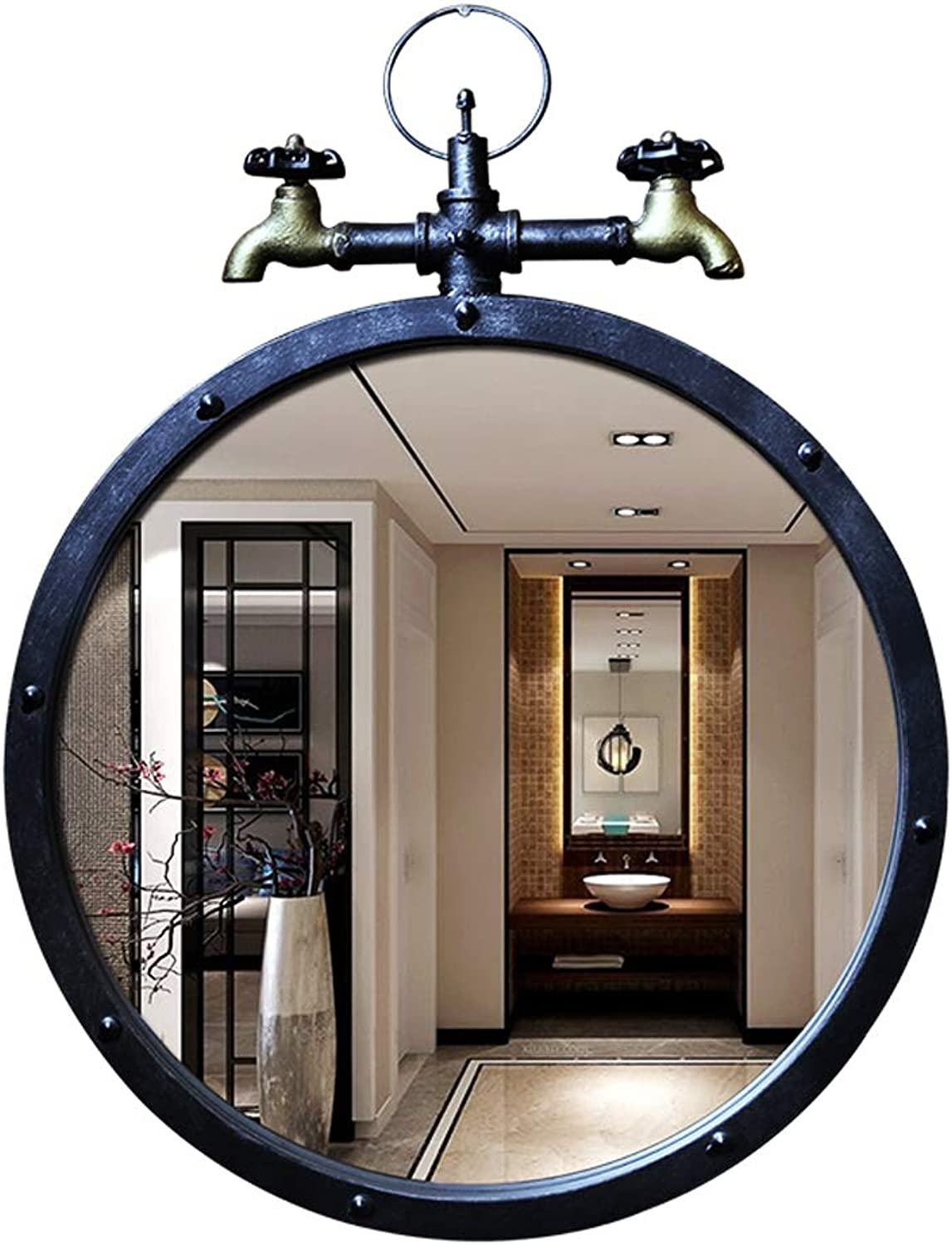Decorative Mirror Bathroom Round Wall Vintage Metal Frame Hang Mirror 50CM(20Inch) Vanity Makeup Art Mirror for Entry Living Room and More
