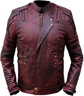 Bestzo Mens Fashion Guardian of Galaxy Vol 2 Real Leather Coat Brown