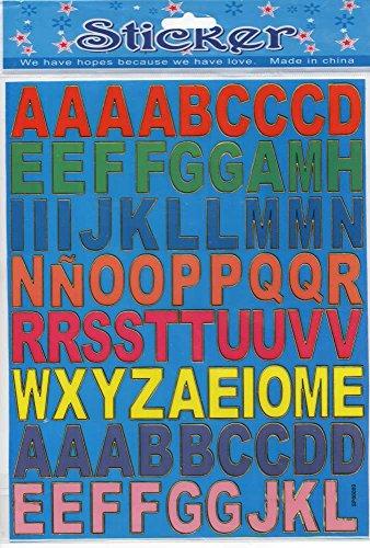 Lettres ABC Multicolore autocollants 72 pièces 1 feuilles 250 mm x 200 mm Stickers bricolage enfants PARTY