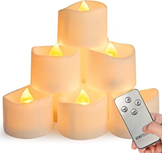 Homemory 12Pcs Remote Control Tea Lights Flickering with Timer, Long Lasting Battery Operated LED Candles with Remote, for...