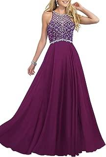 Women's Long Prom Dresses 2019 Scoop Neckline Beaded A Line Formal Dress