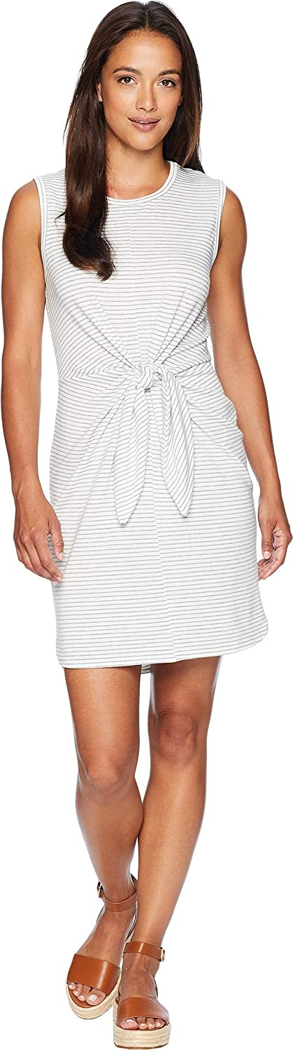 American pink Women's Bella Front Knot Dress OffWhite Heather Grey Large