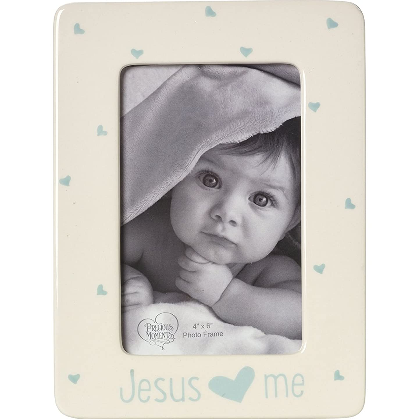 Precious Moments,  Jesus Loves Me, Ceramic 4 x 6 Photo Frame, Boy, 164463