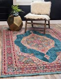 Unique Loom Baracoa Collection Bright Tones Vintage Traditional Turquoise Area Rug (5' 5 x 8' 0)