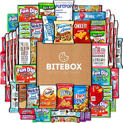BiteBox Care Package (45 Count) Snacks Cookies Bars Chips Candy Ultimate Variety Gift Box Pack...