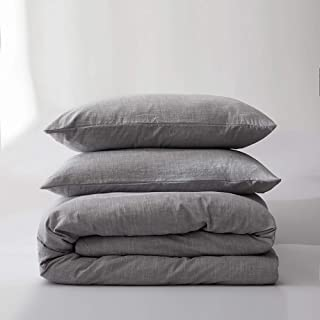 BFS HOME Stonewashed Cotton/Linen Duvet Cover Queen, 3-Piece Comforter Cover Set, Breathable and Skin-Friendly Bedding Set (Grayish Purple, Queen)