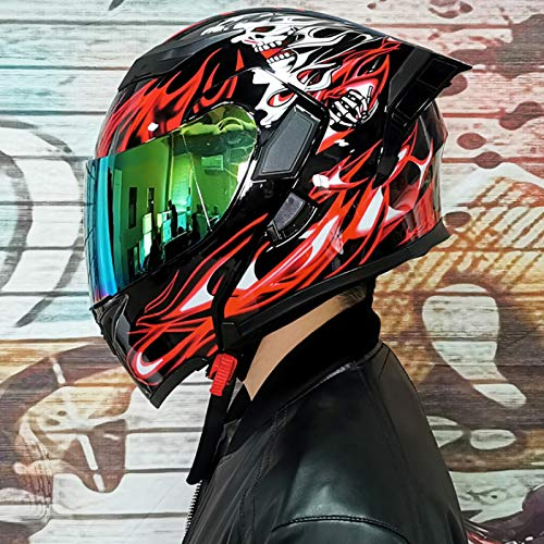 Balscw Doble Visera Casco De Cara Completa/Abierta Casco Modular De Motocicleta Moto Casco De Choque para Hombres Adultos y Mujeres Casco De Moto Modular Doble Visera,Color Mirror-XL(60-61cm)