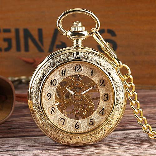 LOOIUEX Reloj de Bolsillo Reloj de Bolsillo mecánico Transparente Hunter para Hombres, Caballeros, Reloj Colgante de Oro con Cadena, Reloj de Mano-Viento de Lujo