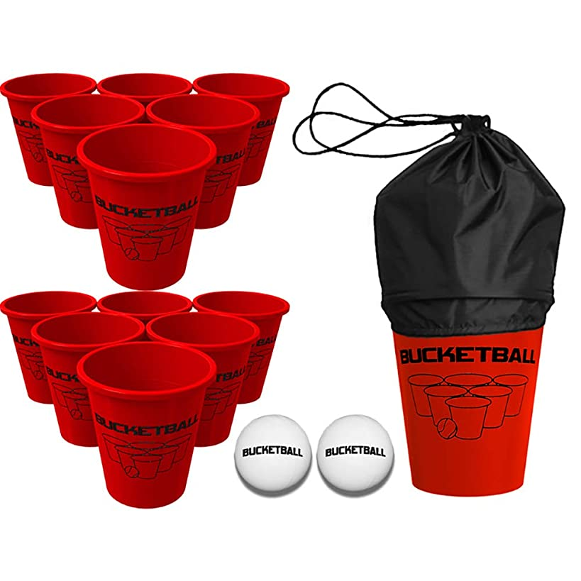 BucketBall Giant Beer Pong Edition The Best Beach, Pool, Yard, Camping, Tailgate, BBQ, Lawn, Wedding, Events, Water, Indoor, Outdoor Game Toy for Adults, Boys, Girls, Teens, Family