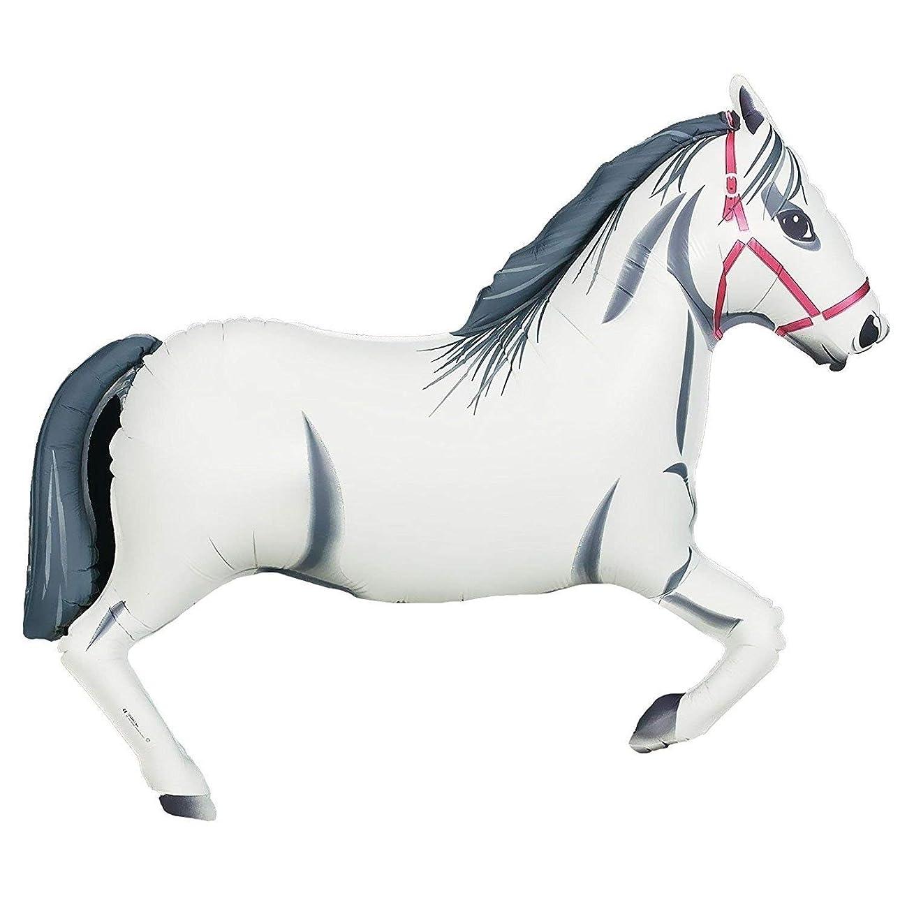 Oaktree Betallic 43 Inch Shape White Horse Packaged