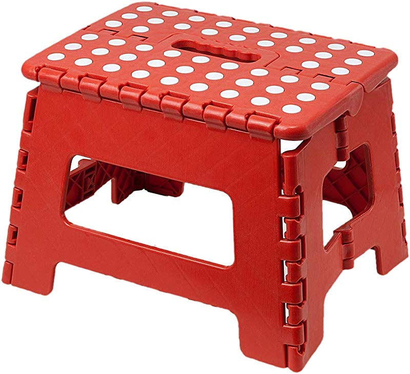 H E Excellent Houseware Small Folding Step Stool 100 Kg Capacity Red