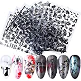 Halloween 3D Nail Art Stickers Day of the Dead Nail Decals Black Nail Supplies Black Russian Letters Cross Spider Web Pumpkin Bat Ghost Skull Horror Self Adhesive Decals Manicure Decoration 9 Sheets