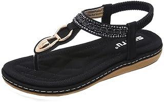 OHQ Sandalias De Mujer Zapatillas Verano Sandalias Planas De Metal con Diamantes De ImitacióN De Bohemia Zapatillas De Pla...