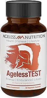 Premium Testosterone Booster & Beard Growth Supplement - AgelessTEST - Natural Stamina, Endurance, Energy Booster - Horny Goat Weed, Vitamin D, Zinc, Tribulus, Ashwagandha, and Fenugreek - 60 Capsules