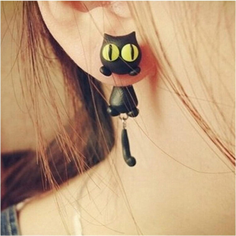 feichang Cartoon 3D Animal Earrings for Women 1 Pair Handmade Yellow Eyes Cute Cat Stud Earring