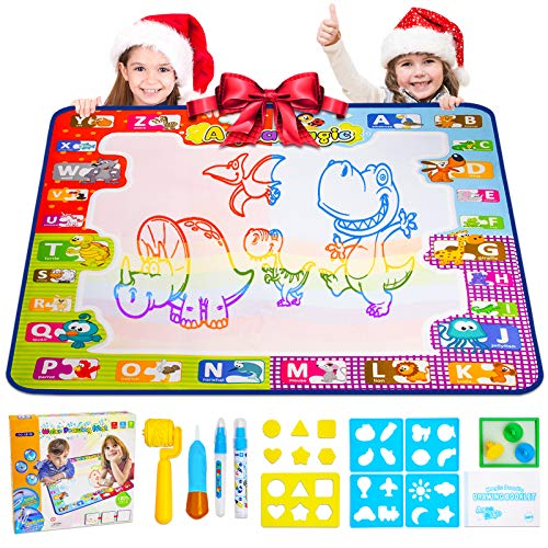 Foayex Toddler Toys for 2 Year Old Girls Water Drawing Mat Aqua Magic Drawing Mat Coloring Painting Doodle Art Learning Board Kids Educational Toys Kit for Toddlers Boys 23 35 48 Years Old