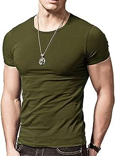 Wiekose Gym Mens Short Sleeves T-Shirt Crew-Neck