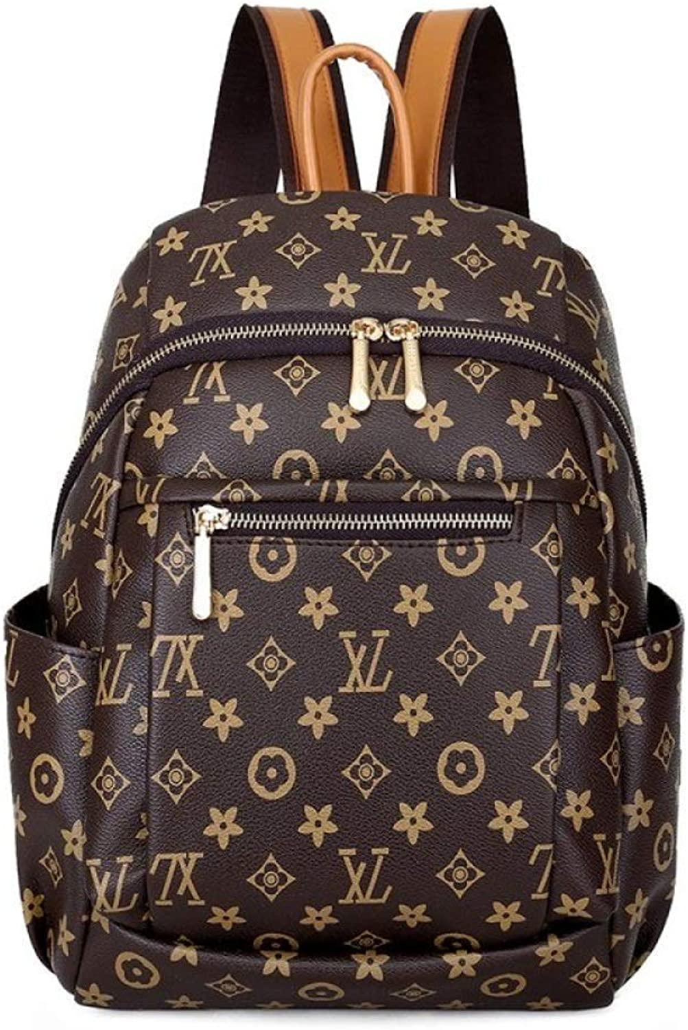 Backpack female trend large capacity printing letter pack leisure travel bag student bag pu Mummy bag 26  15  34cm (color   Brown, Size   26  34  15CM)