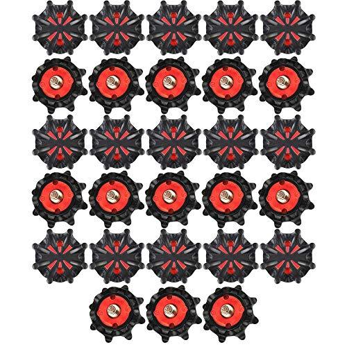 Histar 28-teiliges Spikes-Set, Ersatz für Golfschuhe, Metallgewinde-Schraubbolzen, Stachelschrauben mit kleinem Metallgewinde für Golfschuhe, schwarz/rot
