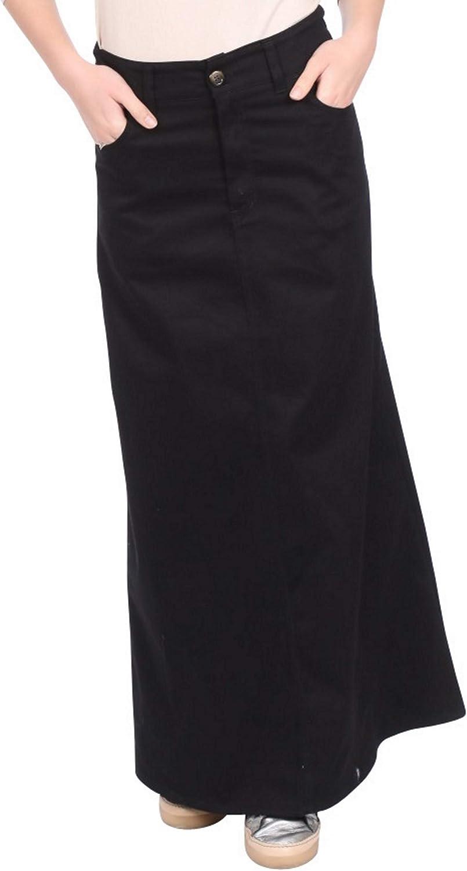 Kosher Casual Women's A-Line Modest Long Cotton Light-Weight Twill Maxi Skirt