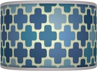 50,8cm Style giclée Tissu imprimé lampe Abat-jour tambour au sol ou Suspension abat-jour 369 50cm Floral bleu vert Pétale rétro fait à la main