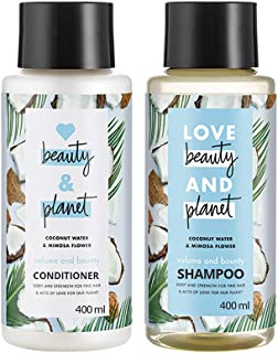 Love Beauty & Planet Coconut Water and Mimosa Flower Aroma Volume and Bounty Shampoo & Conditioner, (2 * 400 ml)