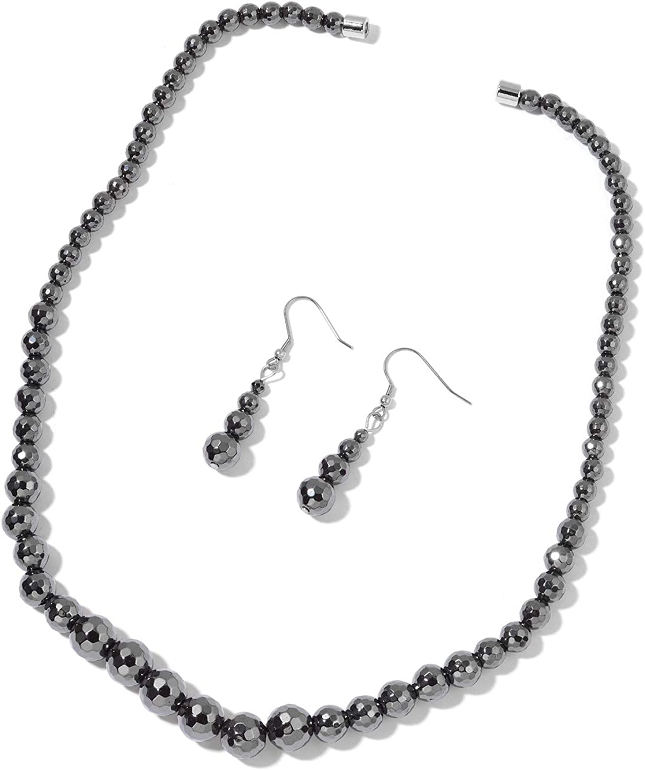Shop LC Stainless Steel Black Hematite Beads Dangle Drop Earrings Matinee Choker Necklace Fashion Jewelry Gifts Sets for Women 20