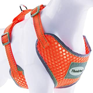 ThinkPet Reflective Breathable Soft Air Mesh No Pull Puppy Choke Free Over Head Vest Ventilation Harness for Puppy Small Medium Dogs and Cats