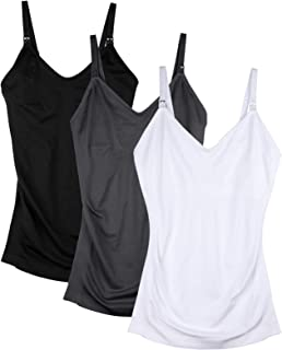DAISITY Womens Maternity Nursing Tank Cami for Breastfeeding with Adjustable Straps