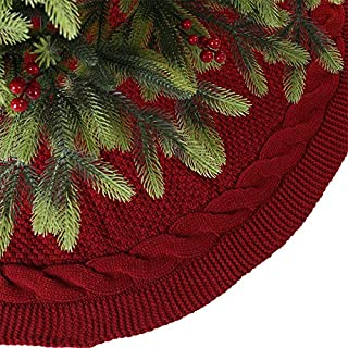 Sattiyrch Christmas Tree Skirt, 48 inches Luxury Cable Knit Knitted Thick Rustic Xmas Holiday Decoration, Burgundy (1)