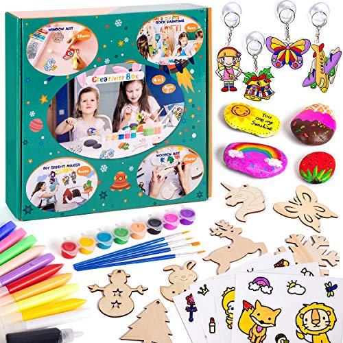 Sundaymot Pittura di Pietra Kit - Kit decorazioni per finestre, Pittura artistica in legno e pittura con adesivi per regalo di pittura per bambini, Feste di compleanno artigianato di famiglia