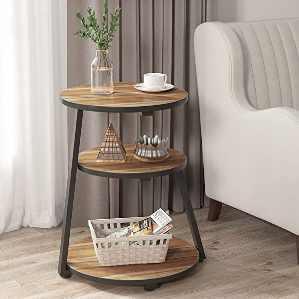 Tribesigns Tall End Table 3 Tier Modern Sofa Chair Side Table Round Night Stand Bedside Table With Storage Shelves For Living Room Bedroom