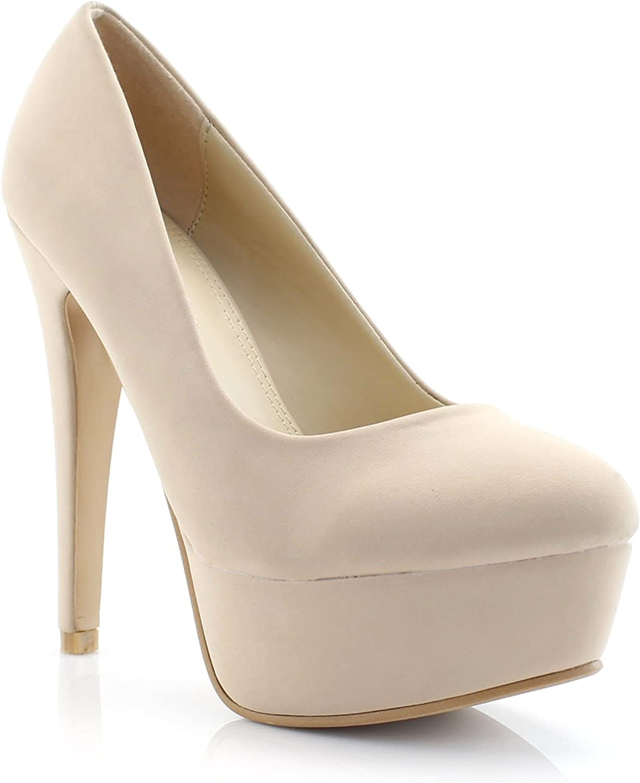 FOREVER VOGUE Women's Classic Stiletto Heel Platform Pumps