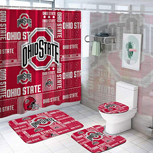 4 Pcs Ohio State Shower Curtain Set with Rugs, Toilet Lid Cover Bath Mat, Shower Curtain with 12 Hooks, Durable Waterproof Fabric Shower Curtain for Bathroom