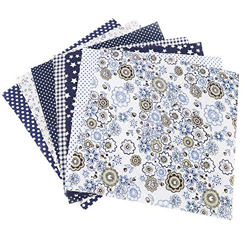 Vobor Dark BlueFlower Serie 100% Katoen Batiks Naaien Craft Doek voor DIY Portemonnee Kussensloop Sachet 7 Stks