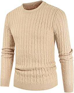 Men's Knitted Jumpers Basic Round Neck Crew Neck Sweatshirt Long Sleeve Sweater Fine Knit Elegant Perfect Monochrome Cable...