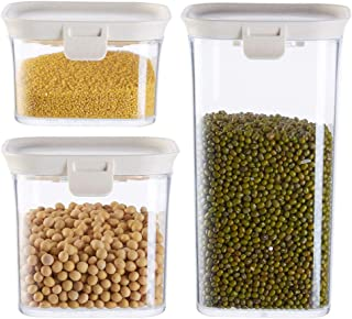 Lot de 3 boîtes de rangement de cuisine avec couvercle hermétique en plastique transparent