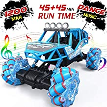 RAGU RC Car, 1: 16 Remote Control Truck with Two Rechargeable Batteries, 2.4 Ghz 4WD Rc Truck High Speed All Terrain Monster Truck with LED Lights & Music, Car Toys for Boys Girls