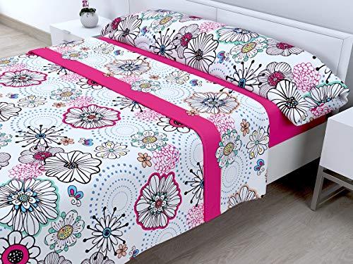 Cabetex Home - Juego DE SÁBANAS CORALINA - 180 GR/M2-3 Piezas - Mod. Meribel (Rosa, 90_x_190/200 cm)