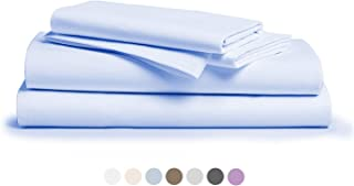 """800 Thread Count 100% Pure Egyptian Cotton – Sateen Weave Premium Bed Sheets, 4- Piece Sky Blue California King- Size Luxury Sheet Set, Fits mattresses Upto 18"""" deep Pocket"""