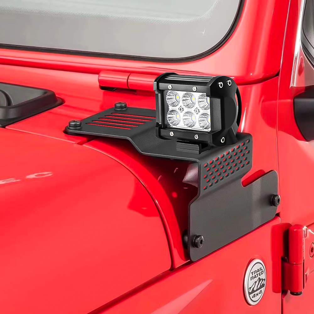 Amazon.com: Jeep JL LED Work Light Bar 4 inch with Wiring Harness Kit +  A-Pillar Mounting Brackets Clamp Holder Fit for Jeep Wrangler JL 2018 2019:  AutomotiveAmzn