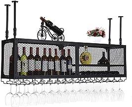HTTJJ Hanging Wine Holder |Wine Bottle Holder for Wall mounting |Wine Rack for Wall mounting |Bottle and Glass Holder |Flo...