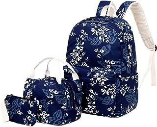 CONtenct 3pcs Floral School Backpack Nylon Laptop Daypack Teenage Schoolbag Bookbag Lunch Bag Pencil Case Purse Set for Women Girls