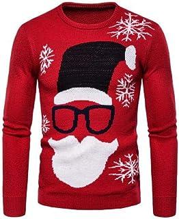 YANGPP Maglione Pullover Lavorato A Maglia A Manica Lunga con Stampa A Manica Lunga da Uomo di Natale E Autunno
