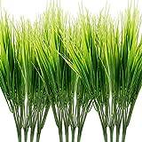 Omldggr 12 paquetes de plantas artificiales hierba de plástico verde arbustos de plástico hierba de trigo para interiores y exteriores decoración de jardín