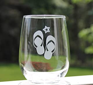 stemless wine glasses Etched Stemless wine glasses beach flip flops fun Wine Glasses